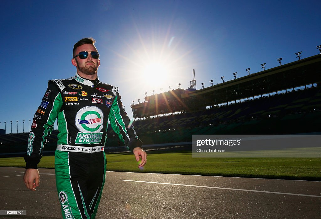 <a gi-track='captionPersonalityLinkClicked' href=/galleries/search?phrase=Austin+Dillon&family=editorial&specificpeople=5075945 ng-click='$event.stopPropagation()'>Austin Dillon</a>, driver of the #3 American Ethanol Chevrolet, walks down pit road prior to qualifying for the NASCAR Sprint Cup Series Hollywood Casino 400 at Kansas Speedway on October 16, 2015 in Kansas City, Kansas.