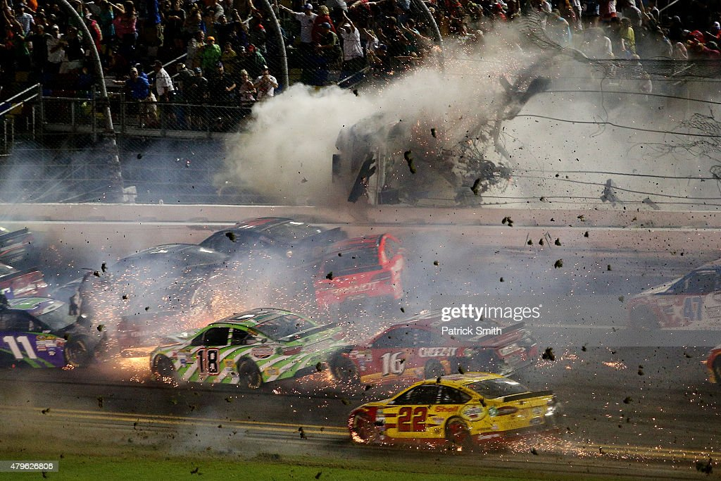 Austin Dillon driver of the Bass Pro Shops Chevrolet is involved in an incident following the checkered flag during the NASCAR Sprint Cup Series Coke...