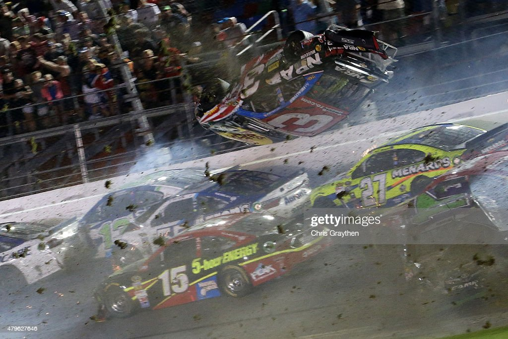 Austin Dillon, driver of the #3 Bass Pro Shops Chevrolet, is involved in an on-track incident following the checkered flag during the NASCAR Sprint Cup Series Coke Zero 400 Powered by Coca-Cola at Daytona International Speedway on July 6, 2015 in Daytona Beach, Florida.