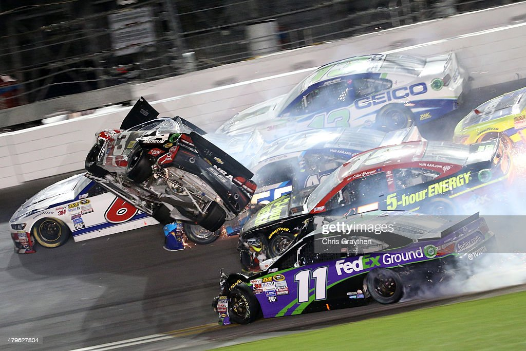 Austin Dillon driver of the Bass Pro Shops Chevrolet is involved in an ontrack incident following the checkered flag during the NASCAR Sprint Cup...
