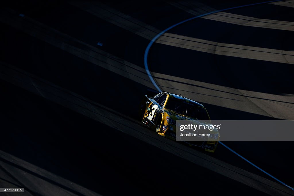 Austin Dillon, driver of the #3 Cheerios Chevrolet, drives during qualifying for the NASCAR Sprint Cup Series Kobalt 400 at Las Vegas Motor Speedway on March 7, 2014 in Las Vegas, Nevada.