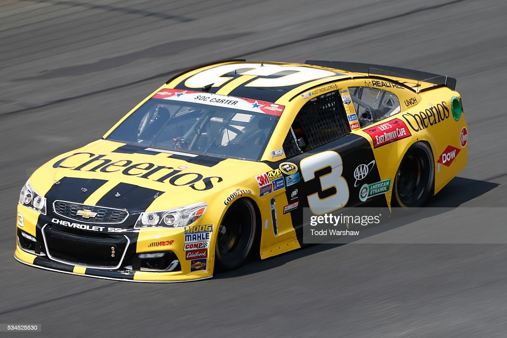 <a gi-track='captionPersonalityLinkClicked' href=/galleries/search?phrase=Austin+Dillon&family=editorial&specificpeople=5075945 ng-click='$event.stopPropagation()'>Austin Dillon</a>, driver of the #3 Cheerios Chevrolet, practices for the NASCAR Sprint Cup Series Coca-Cola 600 at Charlotte Motor Speedway on May 27, 2016 in Charlotte, North Carolina.