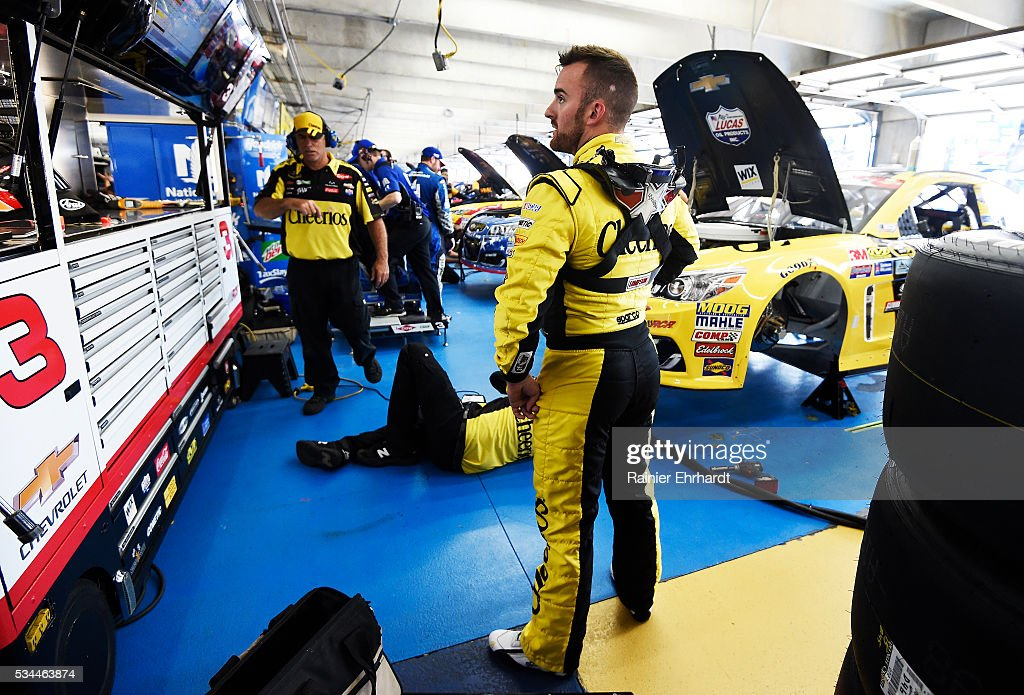 <a gi-track='captionPersonalityLinkClicked' href=/galleries/search?phrase=Austin+Dillon&family=editorial&specificpeople=5075945 ng-click='$event.stopPropagation()'>Austin Dillon</a>, driver of the #3 Cheerios Chevrolet, stands in the garage area during practice for the NASCAR Sprint Cup Series Coca-Cola 600 at Charlotte Motor Speedway on May 27, 2016 in Charlotte, North Carolina.
