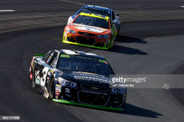 Austin Dillon driver of the Chevrolet Accessories Chevrolet leads a pack of cars during the Monster Energy NASCAR Cup Series ISM Connect 300 at New...
