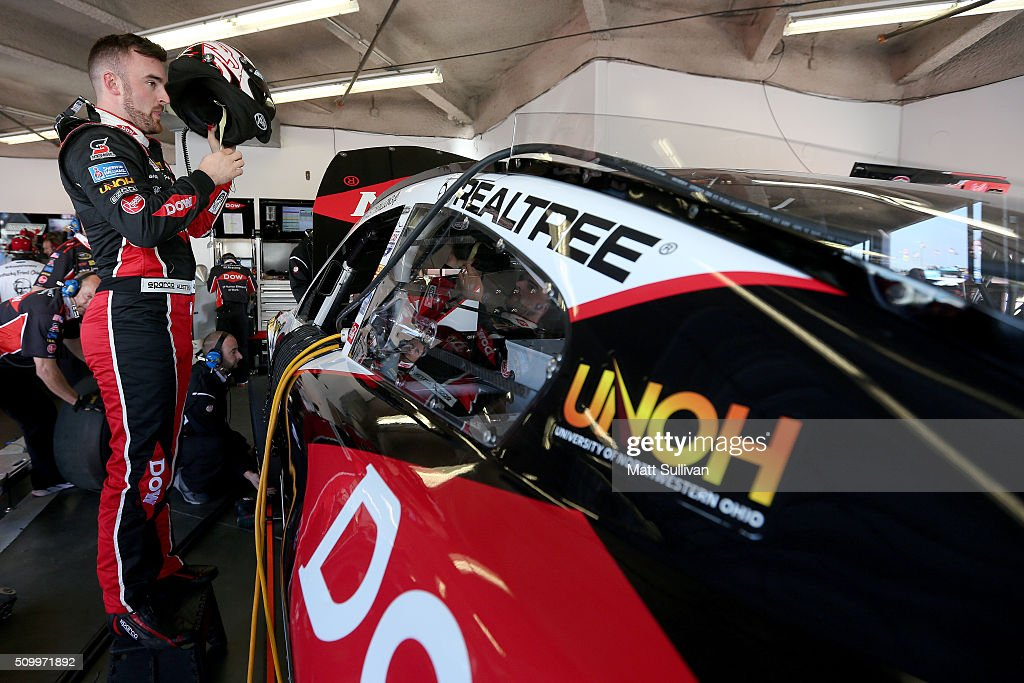 <a gi-track='captionPersonalityLinkClicked' href=/galleries/search?phrase=Austin+Dillon&family=editorial&specificpeople=5075945 ng-click='$event.stopPropagation()'>Austin Dillon</a>, driver of the #3 DOW Chevrolet, adjusts his equipment in the garage during practice for the NASCAR Sprint Cup Series Daytona 500 at Daytona International Speedway on February 13, 2016 in Daytona Beach, Florida.