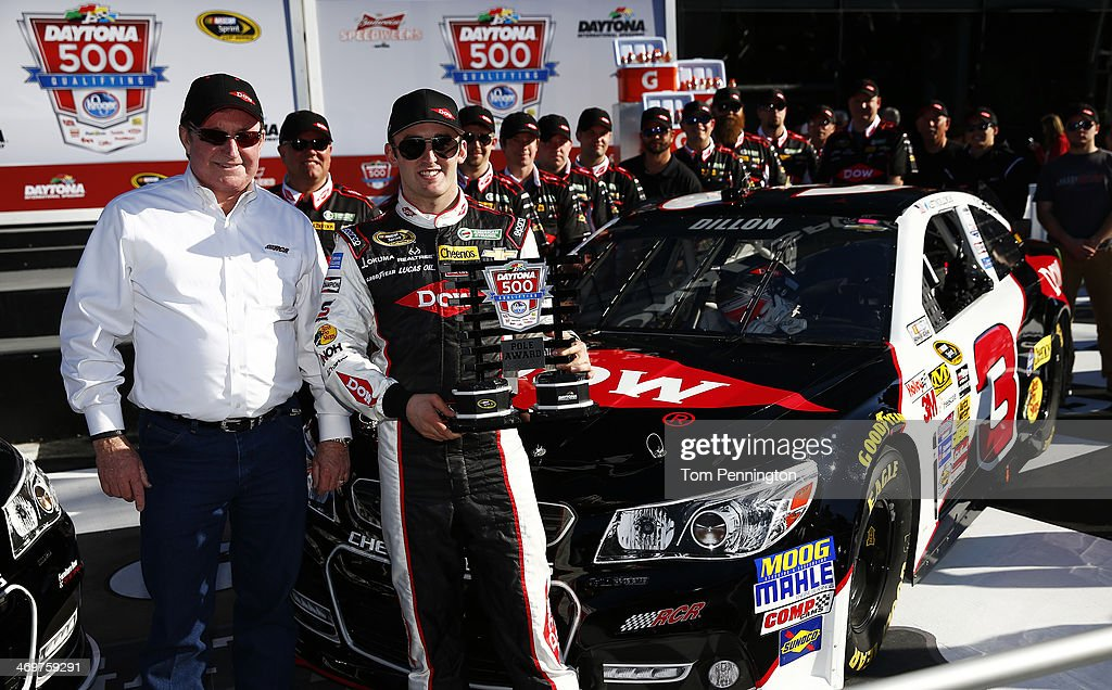 <a gi-track='captionPersonalityLinkClicked' href=/galleries/search?phrase=Austin+Dillon&family=editorial&specificpeople=5075945 ng-click='$event.stopPropagation()'>Austin Dillon</a>, driver of the #3 DOW Chevrolet, celebrates in Victory Lane with team owner <a gi-track='captionPersonalityLinkClicked' href=/galleries/search?phrase=Richard+Childress&family=editorial&specificpeople=604335 ng-click='$event.stopPropagation()'>Richard Childress</a> after winning pole position for the NASCAR Sprint Cup Series Daytona 500 at Daytona International Speedway on February 16, 2014 in Daytona Beach, Florida.