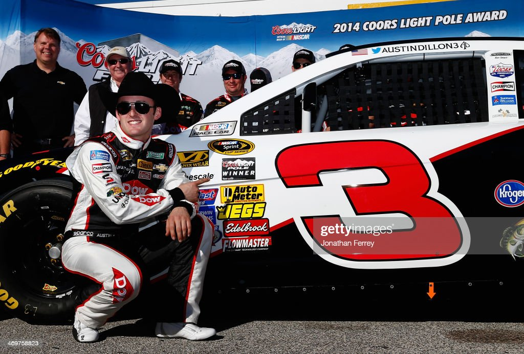 <a gi-track='captionPersonalityLinkClicked' href=/galleries/search?phrase=Austin+Dillon&family=editorial&specificpeople=5075945 ng-click='$event.stopPropagation()'>Austin Dillon</a>, driver of the #3 DOW Chevrolet, poses for a photo after winning pole position for the NASCAR Sprint Cup Series Daytona 500 at Daytona International Speedway on February 16, 2014 in Daytona Beach, Florida.