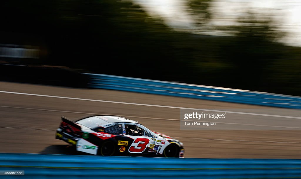 <a gi-track='captionPersonalityLinkClicked' href=/galleries/search?phrase=Austin+Dillon&family=editorial&specificpeople=5075945 ng-click='$event.stopPropagation()'>Austin Dillon</a>, driver of the #3 Dow Chevrolet, practices for the NASCAR Sprint Cup Series Cheez-It 355 at Watkins Glen International on August 8, 2014 in Watkins Glen, New York.