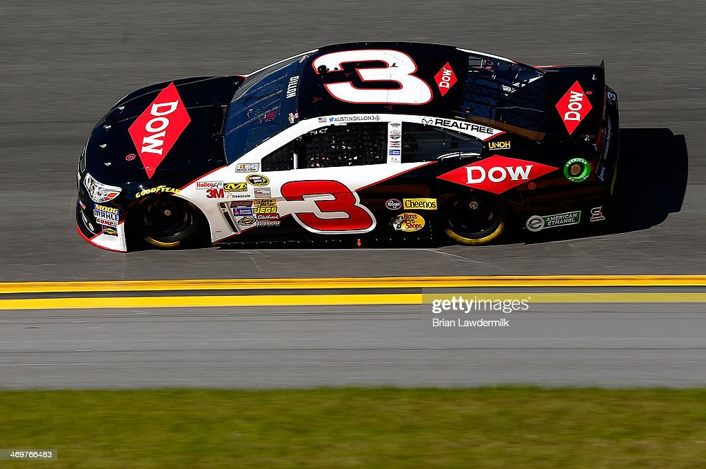 <a gi-track='captionPersonalityLinkClicked' href=/galleries/search?phrase=Austin+Dillon&family=editorial&specificpeople=5075945 ng-click='$event.stopPropagation()'>Austin Dillon</a>, driver of the #3 DOW Chevrolet, qualifies for the NASCAR Sprint Cup Series Daytona 500 at Daytona International Speedway on February 16, 2014 in Daytona Beach, Florida. Dillon set the pole position for next weeks Daytona 500.