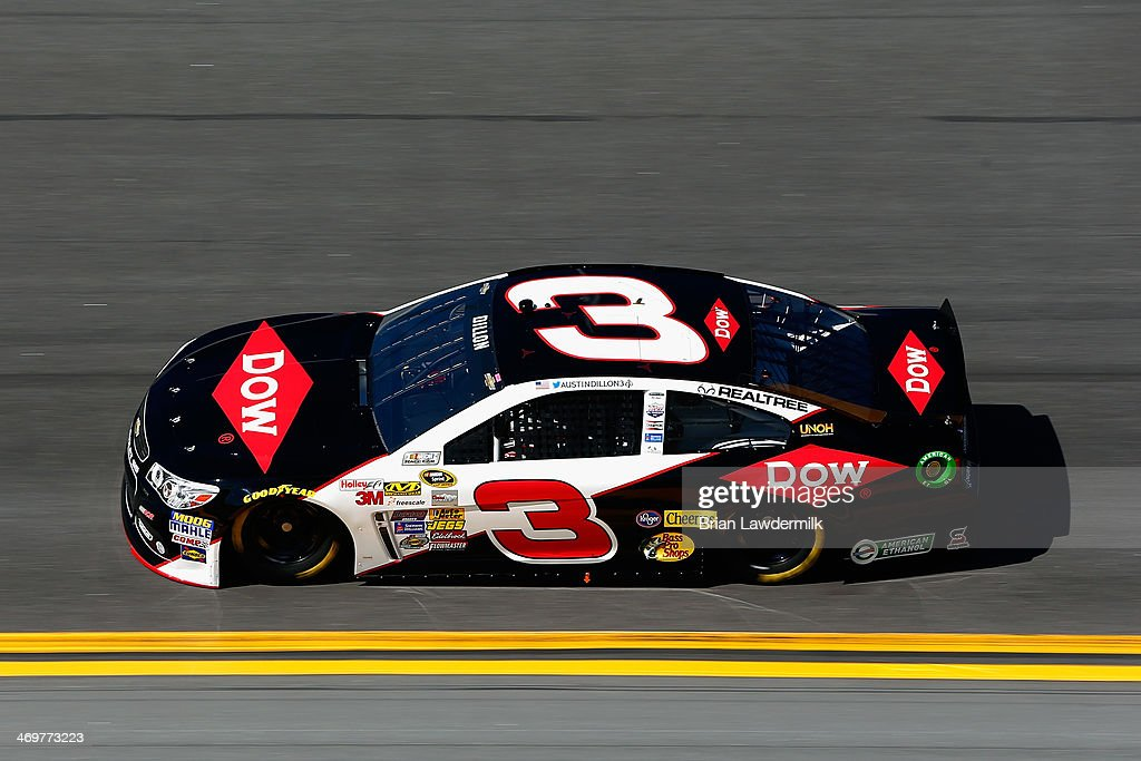 <a gi-track='captionPersonalityLinkClicked' href=/galleries/search?phrase=Austin+Dillon&family=editorial&specificpeople=5075945 ng-click='$event.stopPropagation()'>Austin Dillon</a>, driver of the #3 DOW Chevrolet, qualifies for the NASCAR Sprint Cup Series Daytona 500 at Daytona International Speedway on February 16, 2014 in Daytona Beach, Florida.