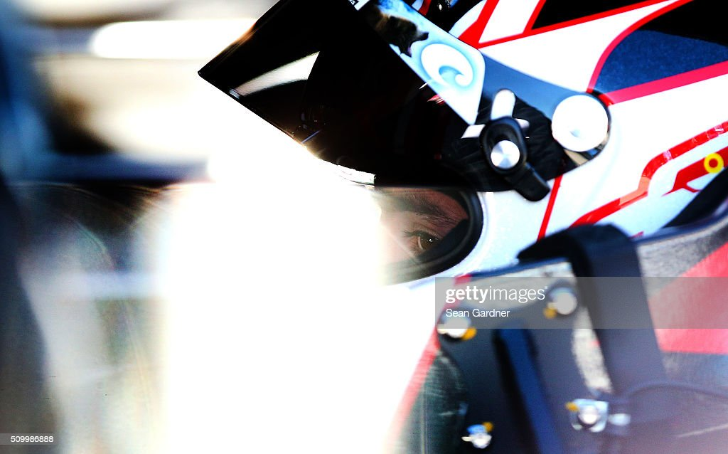 Austin Dillon, driver of the #3 DOW Chevrolet, sits in his car during practice for the NASCAR Sprint Cup Series Daytona 500 at Daytona International Speedway on February 13, 2016 in Daytona Beach, Florida.