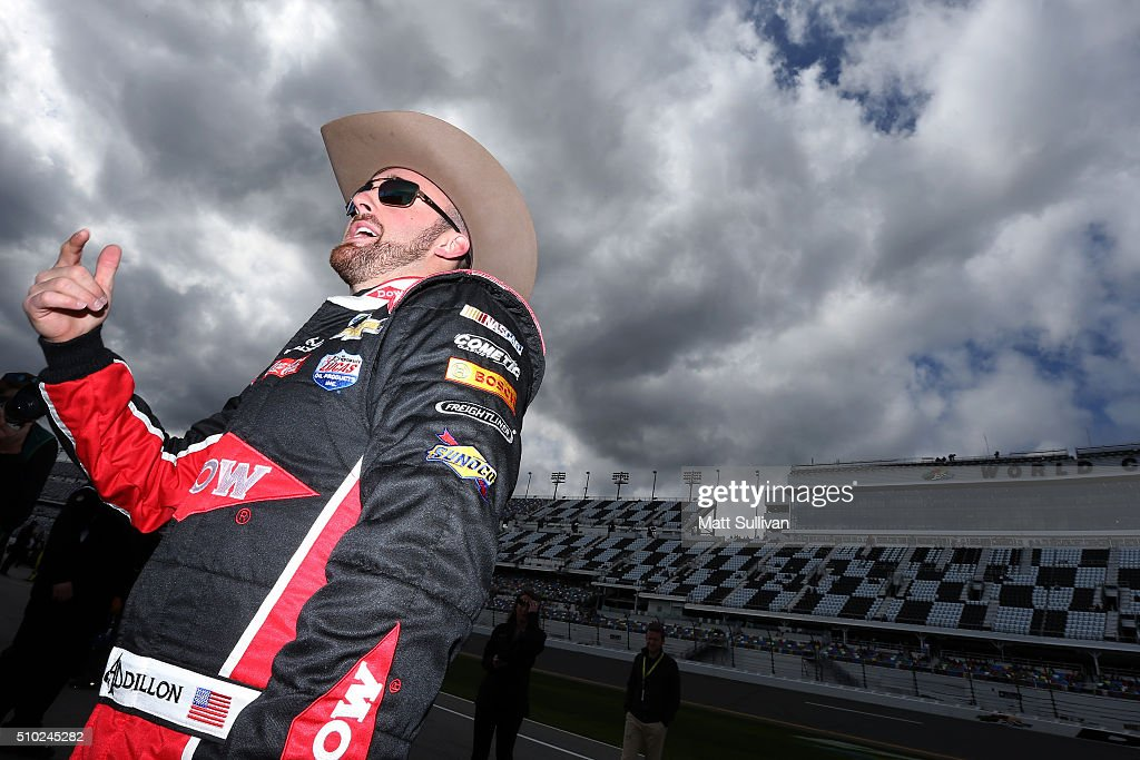 <a gi-track='captionPersonalityLinkClicked' href=/galleries/search?phrase=Austin+Dillon&family=editorial&specificpeople=5075945 ng-click='$event.stopPropagation()'>Austin Dillon</a>, driver of the #3 DOW Chevrolet, stands on the grid during qualifying for the NASCAR Sprint Cup Series Daytona 500 at Daytona International Speedway on February 14, 2016 in Daytona Beach, Florida.