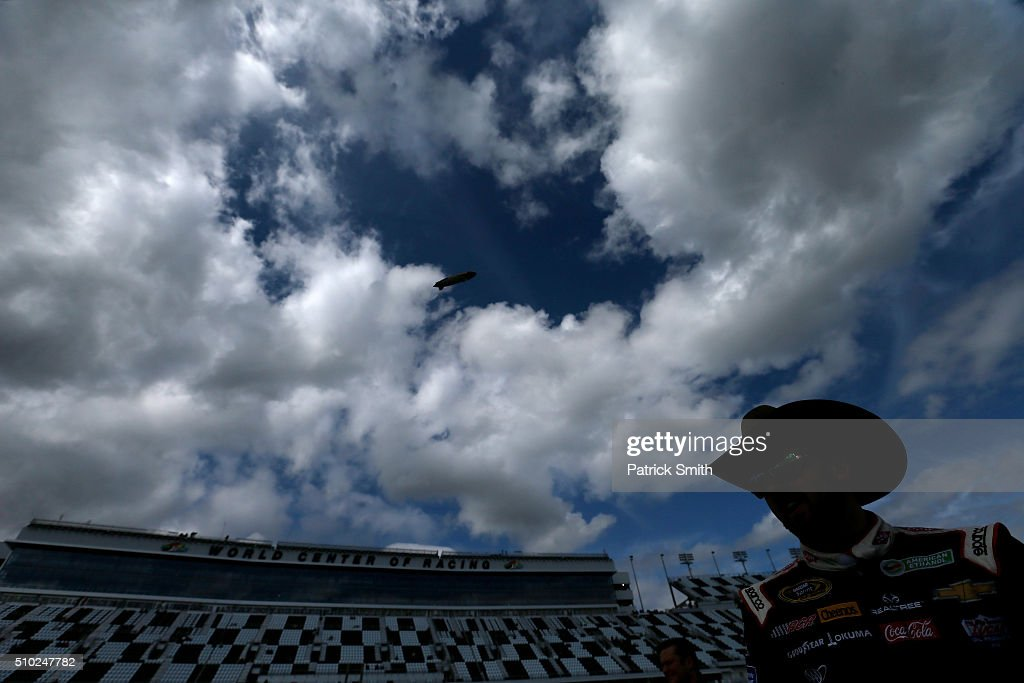 Austin Dillon, driver of the #3 DOW Chevrolet, walks on the grid during qualifying for the NASCAR Sprint Cup Series Daytona 500 at Daytona International Speedway on February 14, 2016 in Daytona Beach, Florida.