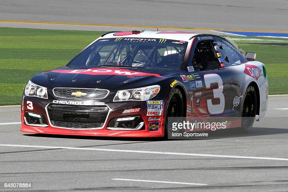 Austin Dillon driver of the Dow Chevy during practice for the NASCAR Monster Energy Cup Series Daytona 500 on February 24 at the Daytona...