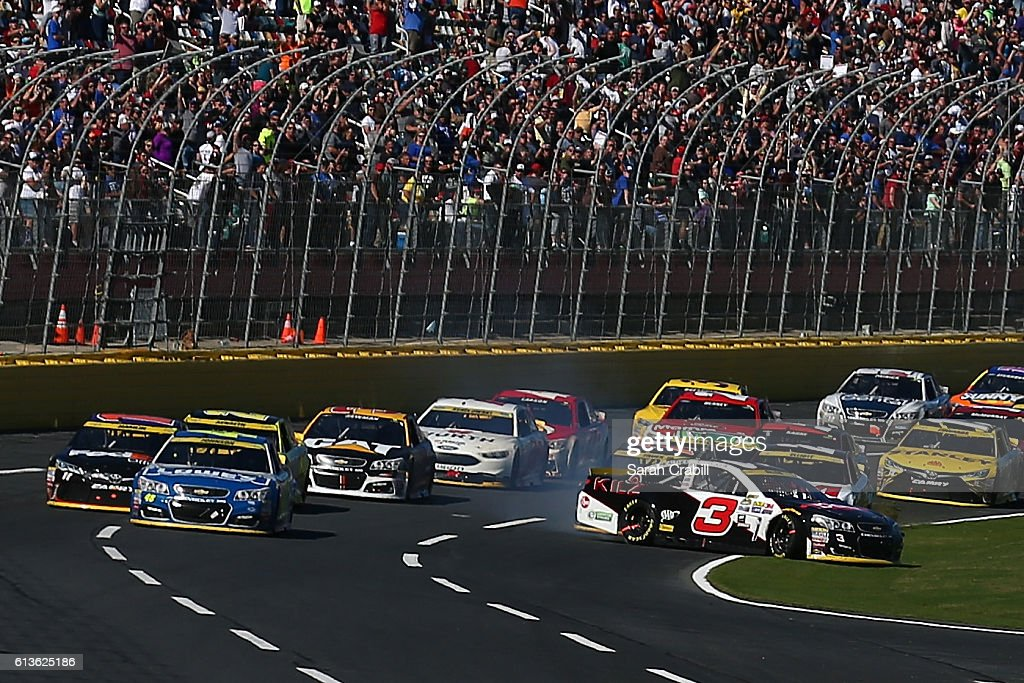 Austin Dillon, driver of the #3 Dow Coating Materials Chevrolet, spins on the front stretch during the NASCAR Sprint Cup Series Bank of America 500 at Charlotte Motor Speedway on October 9, 2016 in Charlotte, North Carolina.