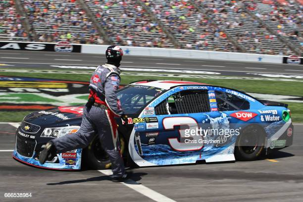 Austin Dillon driver of the DOW Energy Water Chevrolet drives to the garage during the Monster Energy NASCAR Cup Series O'Reilly Auto Parts 500 at...