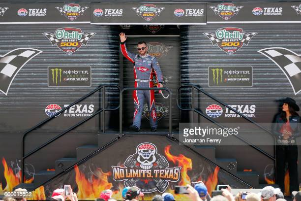Austin Dillon driver of the DOW Energy Water Chevrolet is introduced prior to the Monster Energy NASCAR Cup Series O'Reilly Auto Parts 500 at Texas...