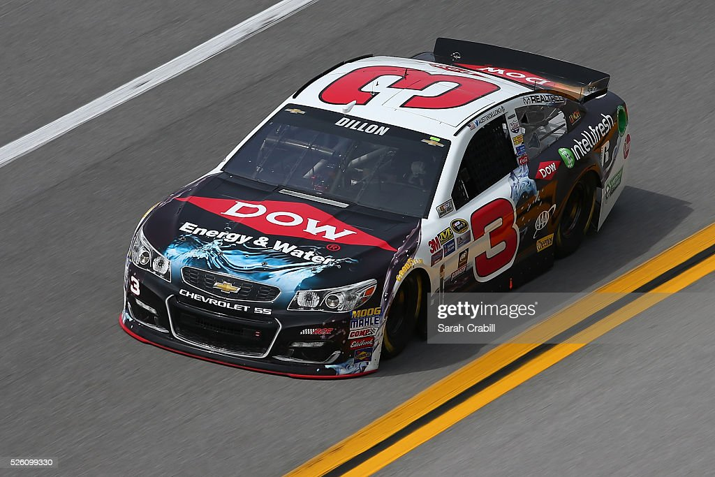 Austin Dillon, driver of the #3 Dow - Energy & Water/Intellifresh Chevrolet, practices for the NASCAR Sprint Cup Series GEICO 500 at Talladega Superspeedway on April 29, 2016 in Talladega, Alabama.