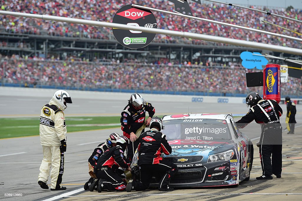 Austin Dillon, driver of the #3 Dow - Energy & Water/Intellifresh Chevrolet, pits during the NASCAR Sprint Cup Series GEICO 500 at Talladega Superspeedway on May 1, 2016 in Talladega, Alabama.