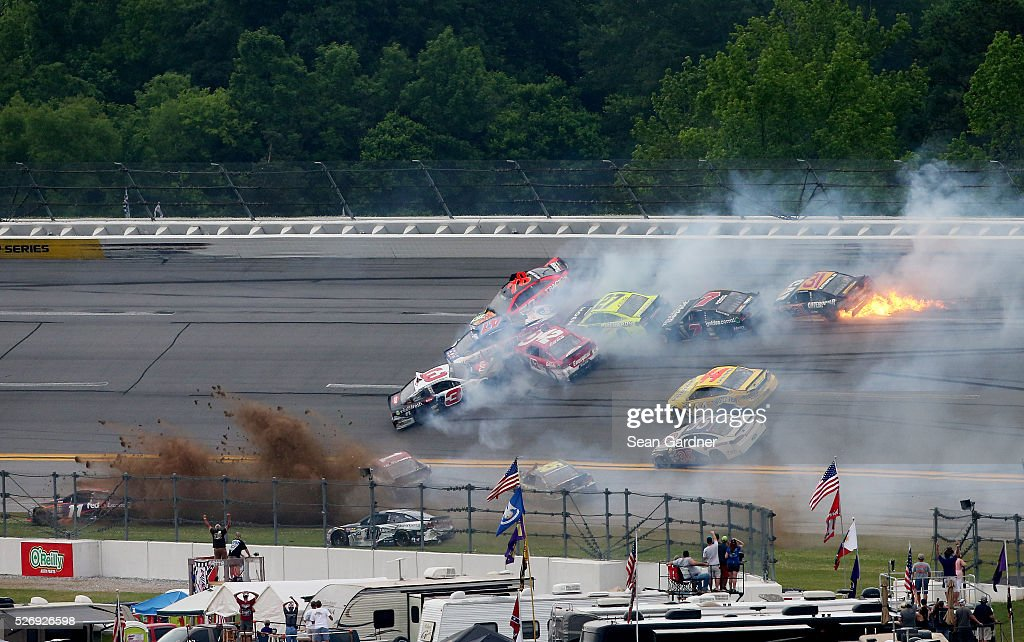 Austin Dillon, driver of the #3 Dow - Energy & Water/Intellifresh Chevrolet, and others are involved in a large on track incident during the NASCAR Sprint Cup Series GEICO 500 at Talladega Superspeedway on May 1, 2016 in Talladega, Alabama.