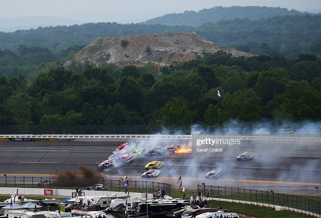 Austin Dillon, driver of the #3 Dow - Energy & Water/Intellifresh Chevrolet, and others are involved in an on track incident during the NASCAR Sprint Cup Series GEICO 500 at Talladega Superspeedway on May 1, 2016 in Talladega, Alabama.
