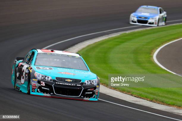 Austin Dillon driver of the Dow Molykote Smart Lubrication Chevrolet leads Dale Earnhardt Jr driver of the Nationwide Chevrolet during practice for...
