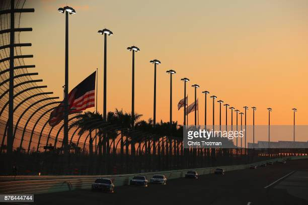 Austin Dillon driver of the DOW WeatherTech Chevrolet leads a pack of cars during the Monster Energy NASCAR Cup Series Championship Ford EcoBoost 400...