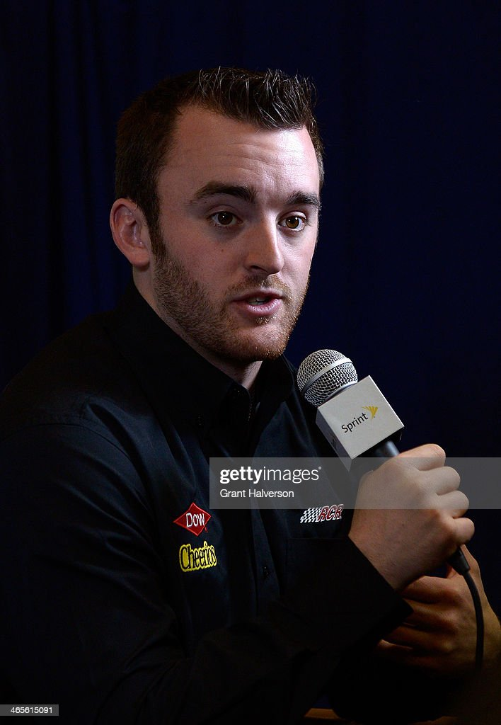 Austin Dillon, driver of the #3 DOW/Cheerios Chevrolet, speaks with the media during the NASCAR Sprint Media Tour at Charlotte Convention Center on January 28, 2014 in Charlotte, North Carolina.