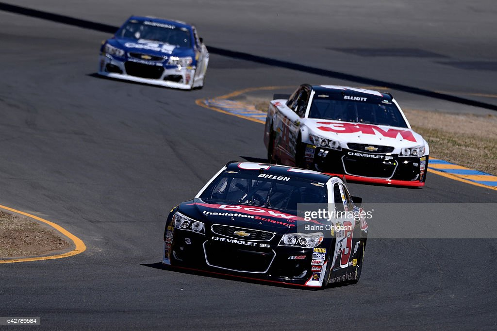 <a gi-track='captionPersonalityLinkClicked' href=/galleries/search?phrase=Austin+Dillon&family=editorial&specificpeople=5075945 ng-click='$event.stopPropagation()'>Austin Dillon</a>, driver of the #3 Dow/Utility Trailers Chevrolet, and <a gi-track='captionPersonalityLinkClicked' href=/galleries/search?phrase=Chase+Elliott&family=editorial&specificpeople=3623017 ng-click='$event.stopPropagation()'>Chase Elliott</a>, driver of the #24 3M Chevrolet, practice for the NASCAR Sprint Cup Series Toyota/Save Mart 350 at Sonoma Raceway on June 24, 2016 in Sonoma, California.
