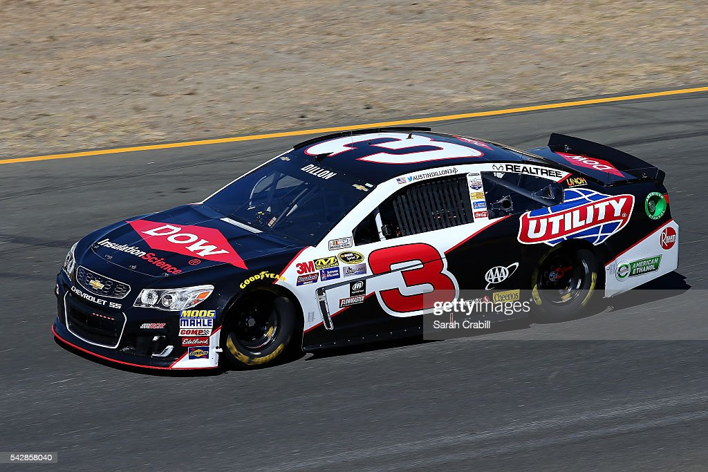 <a gi-track='captionPersonalityLinkClicked' href=/galleries/search?phrase=Austin+Dillon&family=editorial&specificpeople=5075945 ng-click='$event.stopPropagation()'>Austin Dillon</a>, driver of the #3 Dow/Utility Trailers Chevrolet, practices for the NASCAR Sprint Cup Series Toyota/Save Mart 350 at Sonoma Raceway on June 24, 2016 in Sonoma, California.