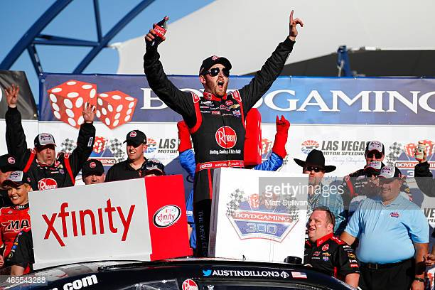 Austin Dillon driver of the Rheem Chevrolet celebrates after winning the NASCAR XFINITY Series Boyd Gaming 300 at Las Vegas Motor Speedway on March 7...