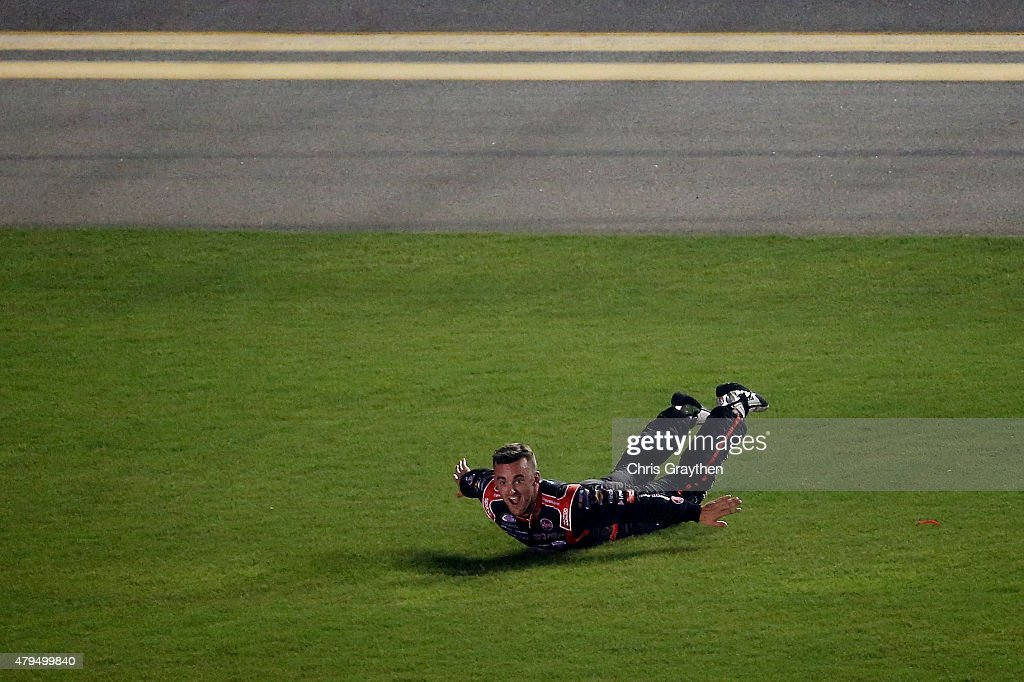 Austin Dillon driver of the Rheem Chevrolet celebrates after winning the NASCAR XFINITY Series Subway Firecracker 250 Powered By CocaCola at Daytona...