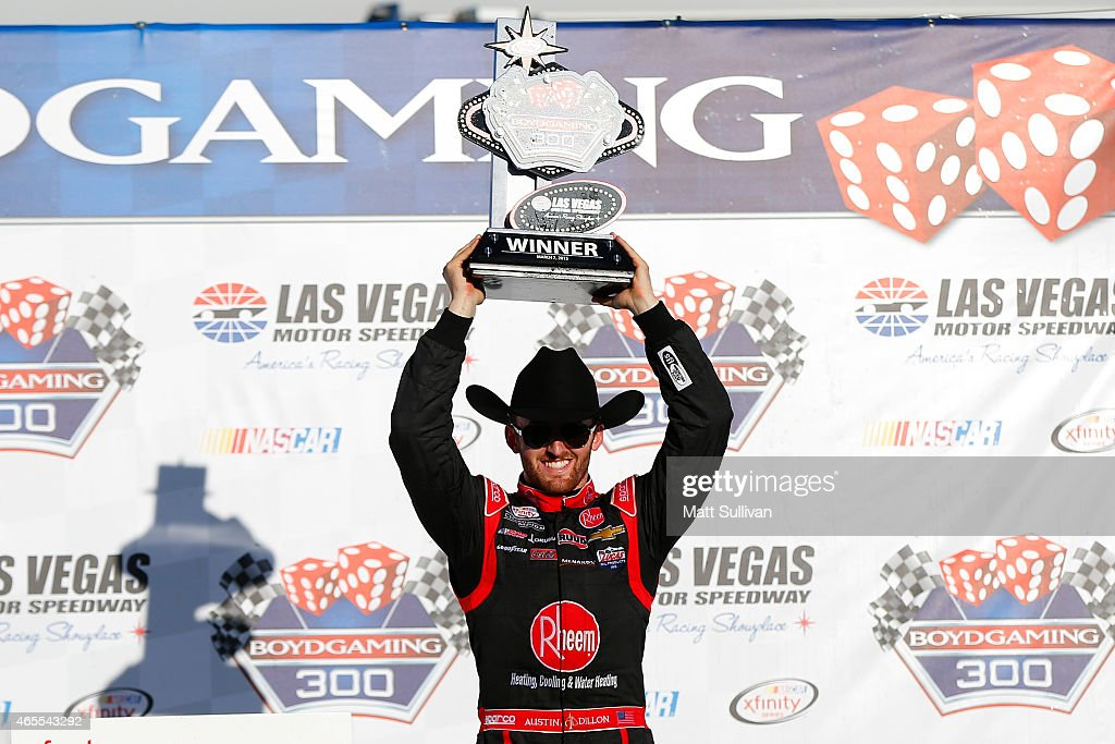 <a gi-track='captionPersonalityLinkClicked' href=/galleries/search?phrase=Austin+Dillon&family=editorial&specificpeople=5075945 ng-click='$event.stopPropagation()'>Austin Dillon</a>, driver of the #33 Rheem Chevrolet, celebrates in victory lane after winning the NASCAR XFINITY Series Boyd Gaming 300 at Las Vegas Motor Speedway on March 7, 2015 in Las Vegas, Nevada.