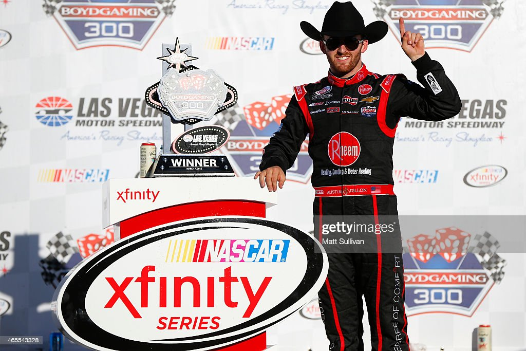Austin Dillon, driver of the #33 Rheem Chevrolet, celebrates in victory lane after winning the NASCAR XFINITY Series Boyd Gaming 300 at Las Vegas Motor Speedway on March 7, 2015 in Las Vegas, Nevada.