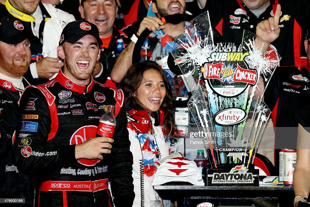 Austin Dillon driver of the Rheem Chevrolet celebrates in Victory Lane after winning the NASCAR XFINITY Series Subway Firecracker 250 Powered By...