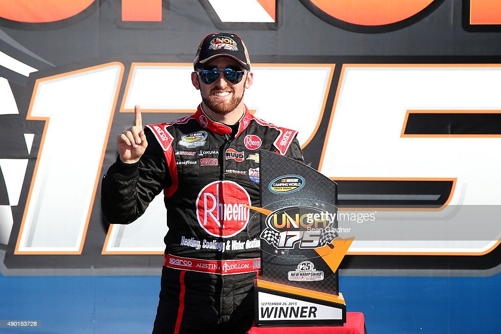 <a gi-track='captionPersonalityLinkClicked' href=/galleries/search?phrase=Austin+Dillon&family=editorial&specificpeople=5075945 ng-click='$event.stopPropagation()'>Austin Dillon</a>, driver of the #33 Rheem Chevrolet, celebrates in Victory Lane after winning the NASCAR Camping World Truck Series UNOH 175 at New Hampshire Motor Speedway on September 26, 2015 in Loudon, New Hampshire.