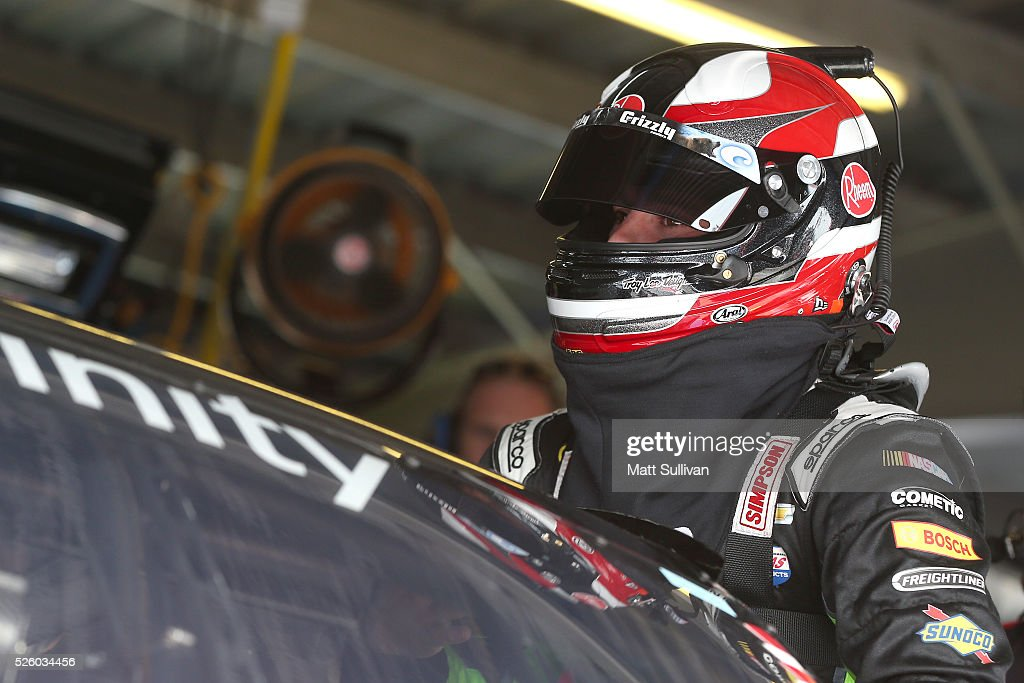 <a gi-track='captionPersonalityLinkClicked' href=/galleries/search?phrase=Austin+Dillon&family=editorial&specificpeople=5075945 ng-click='$event.stopPropagation()'>Austin Dillon</a>, driver of the #2 Rheem Chevrolet, climbs into his car during practice for the NASCAR XFINITY Series Sparks Energy 300 at Talladega Superspeedway on April 29, 2016 in Talladega, Alabama.