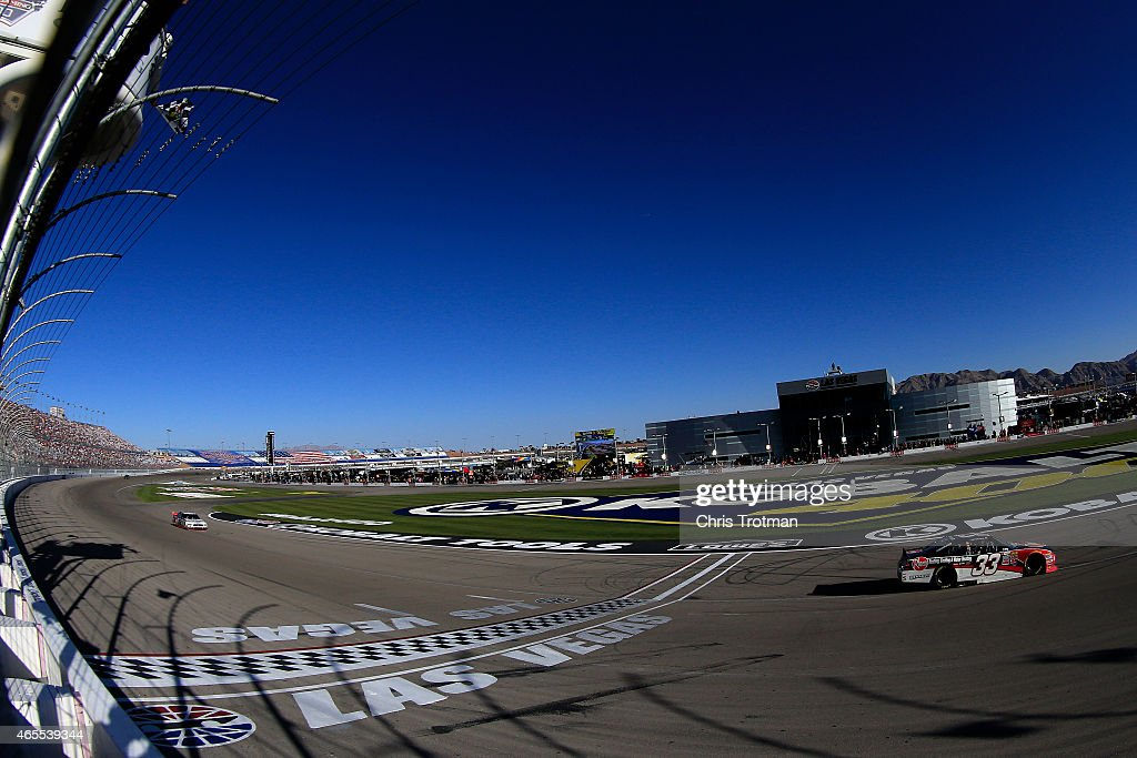 Austin Dillon driver of the Rheem Chevrolet crosses the finishline to win the NASCAR XFINITY Series Boyd Gaming 300 at Las Vegas Motor Speedway on...
