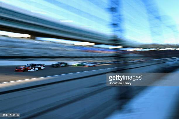 Austin Dillon driver of the Rheem Chevrolet leads a pack of cars during the NASCAR XFINITY Series O'Reilly Auto Parts Challenge at Texas Motor...