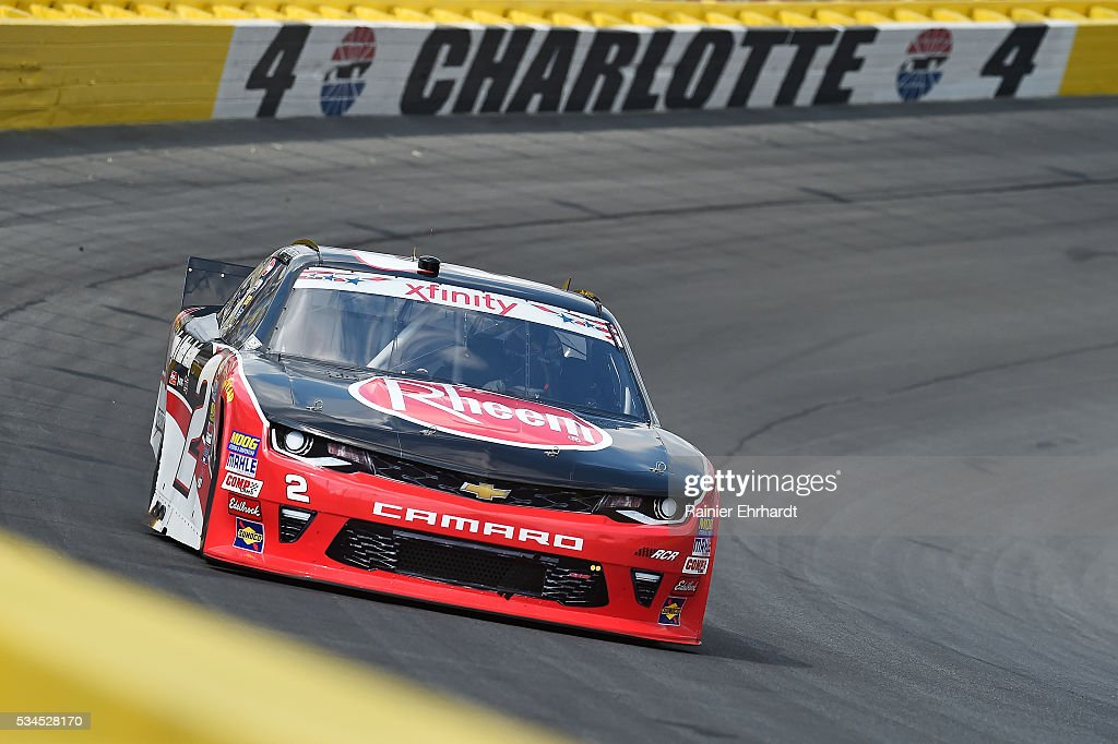 <a gi-track='captionPersonalityLinkClicked' href=/galleries/search?phrase=Austin+Dillon&family=editorial&specificpeople=5075945 ng-click='$event.stopPropagation()'>Austin Dillon</a>, driver of the #2 Rheem Chevrolet, practices for the NASCAR XFINITY Series Hisense 4K TV 300 at Charlotte Motor Speedway on May 27, 2016 in Charlotte, North Carolina.