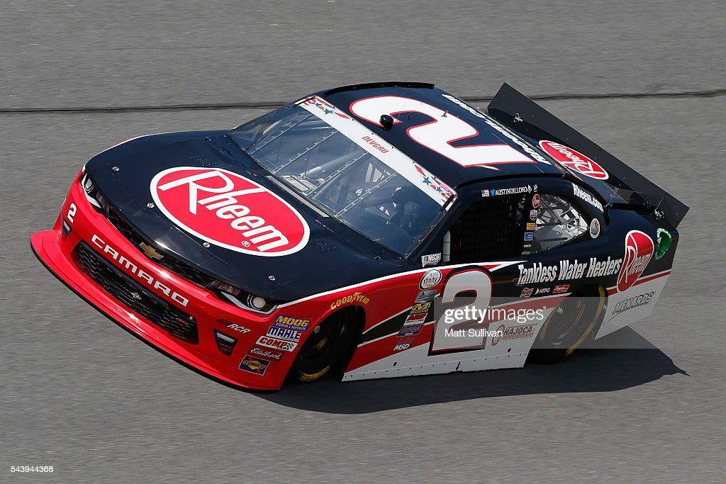 <a gi-track='captionPersonalityLinkClicked' href=/galleries/search?phrase=Austin+Dillon&family=editorial&specificpeople=5075945 ng-click='$event.stopPropagation()'>Austin Dillon</a>, driver of the #2 Rheem Chevrolet, practices for the NASCAR XFINITY Series Subway Firecracker 250 at Daytona International Speedway on June 30, 2016 in Daytona Beach, Florida.