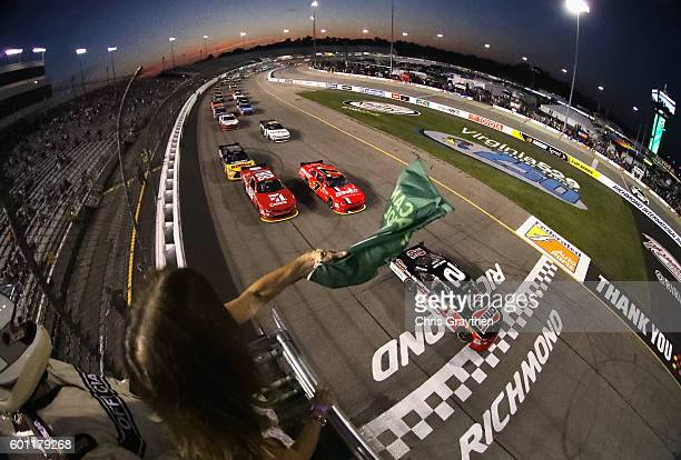 Austin Dillon driver of the Ruud Chevrolet leads the field through the green flag to start the NASCAR XFINITY Series Virginia529 College Savings 250...