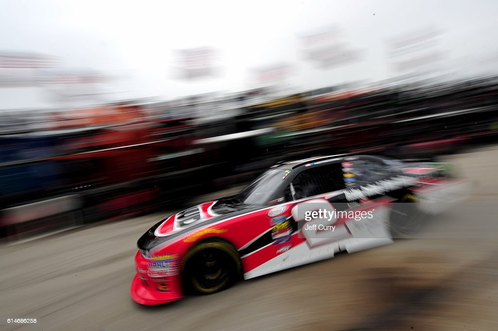 Austin Dillon drives the #2 Ruud Chevrolet through the garage area during practice for the NASCAR XFINITY Series Kansas Lottery 300 at Kansas Speedway on October 14, 2016 in Kansas City, Kansas.