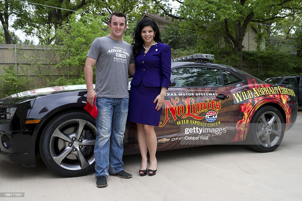 Austin Dillon poses with Denise Harris of Meals on Wheels after he delivered lunch with Meals on Wheels on April 9 2013 in Arlington Texas