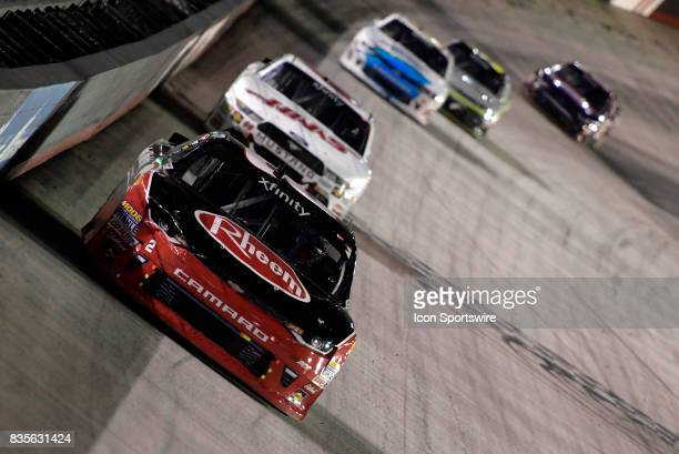 Austin Dillon Richard Childress Racing Chevrolet Camaro has damage to the right front fender of the car during the Food City 300 on August 18 at the...