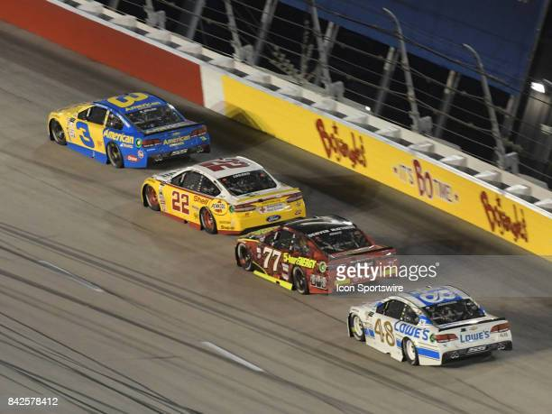 Austin Dillon Richard Childress Racing E15 American Ethanol Chevrolet SS leads a group of cars through the turns during the NASCAR Monster Energy Cup...