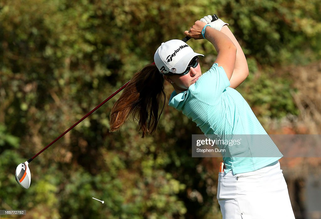 Austin Ernst hits her tee shot on the third hole during the second round of the Kraft Nabisco Championship at Mission Hills Country Club on April 5, 2013 in Rancho Mirage, California.