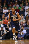 Austin Freeman of the Georgetown Hoyas brings the ball up court against the Notre Dame Fighting Irish on December 29 2010 in South Bend Indiana
