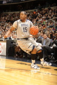 Austin Freeman of the Georgetown Hoyas dribbles the ball during a college basketball game against the Providence Friars on February 5 2011 at the...