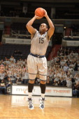 Austin Freeman of the Georgetown Hoyas takes a jump shot during a college basketball game against the St John's Red Storm on January 26 2011 at the...
